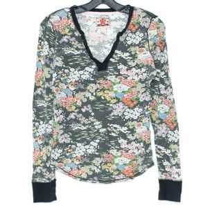 Lucky Brand Top Long Sleeve Waffle Knit Floral D2